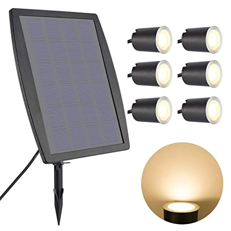 Bright Round White LED Solar Powered Garden Decking Deck Lights Patio Driveway Outdoor Lighting Night Light Wireless Stepping Portable 4