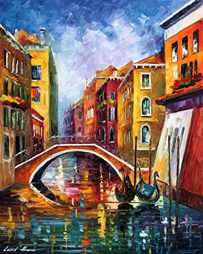 Venice Bridge 2 - PALETTE KNIFE Cityscape Modern Wall Art Decor Oil Painting On Canvas By Leonid Afremov