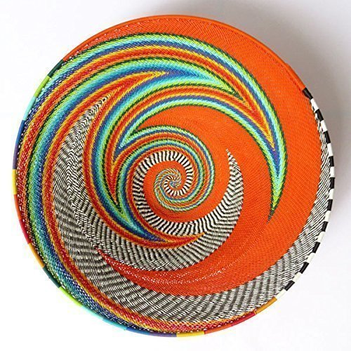 African Zulu woven telephone wire bowl – Large shallow bowl - Orange and multicolour - Gift from Africa