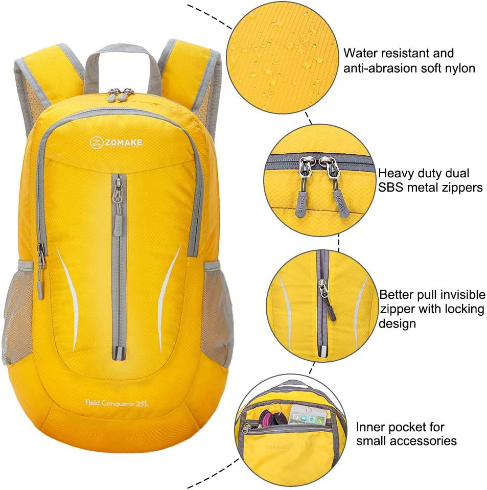 25L Water Resistant Hiking Daypack for Men ZOMAKE Lightweight Packable Backpack
