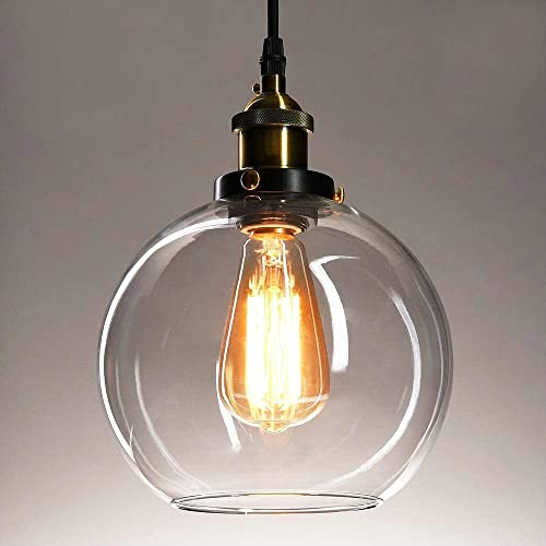 Frideko Vintage Ball Glass Ceiling Pendant Light – Industrial Style Globe Glass Lampshade Hanging Fixture Lighting with Adjustable Cord Length for Kitchen Island Dining Room, use E26 Edison Bulb