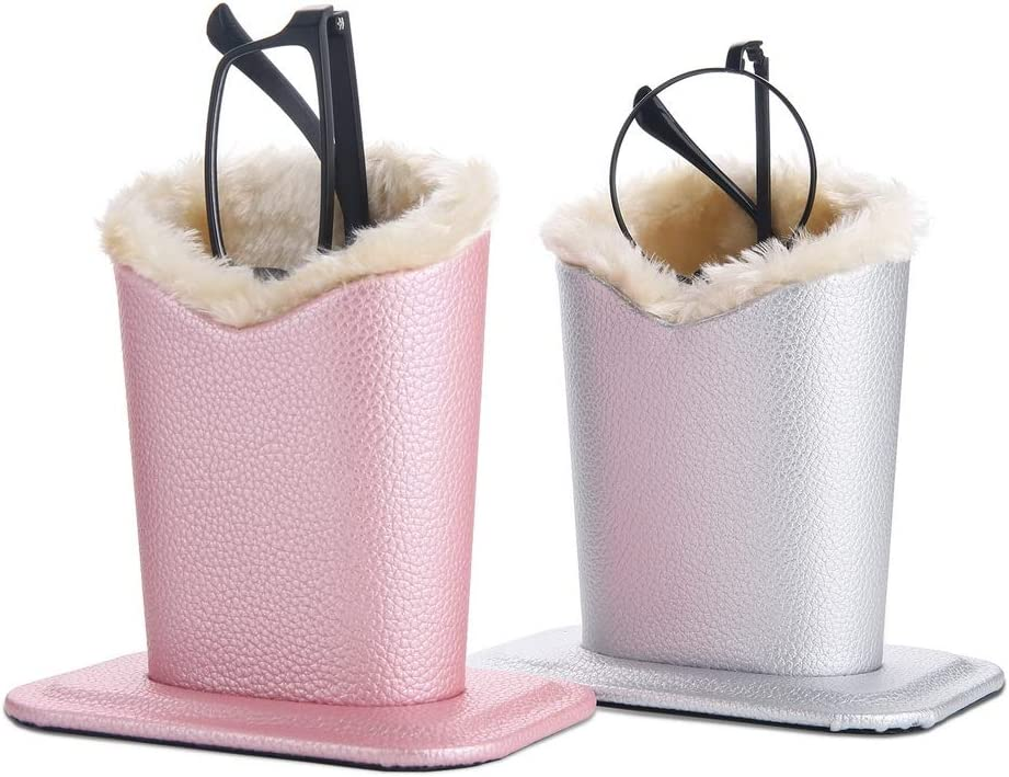 Siveit Eyeglass Holders, PU Leather Eyeglass Holder Stands with Soft Plush Lining, Silver, Pink - 2 Packs