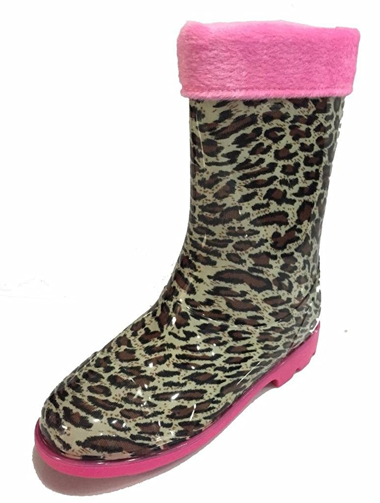 Little Girls Youth Leopard / Jaguar Animal Print Rain Snow Boots w/ Great Lining AM-286