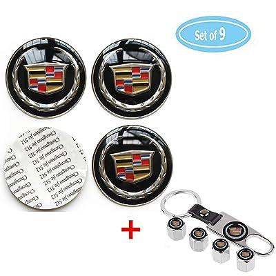 4 Pack For Cadillac Wheel Center Caps Emblem-Black,2.56'' 65mm Rim Hub Emblem Badge Sticker + 4 Pack Valve Covers Fit for Cadillac ATS CTS EXT SRX All Models Cadillac Emblem (Black, 65MM/2.56''): Automotive
