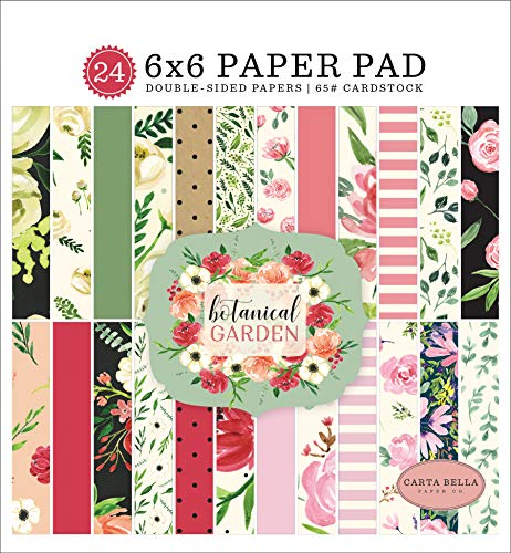 Carta Bella Paper Company CBBO98023 Botanical Garden 6x6 Pad Paper, Pink, Green, Black, red, -