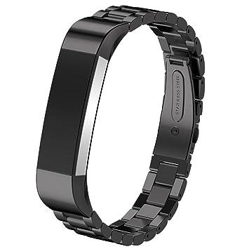 Correa de reloj Happytop de acero inoxidable (14 mm), para Fitbit Alta HR Smart Watch, hombre, negro, Small: Amazon.es: Deportes y aire libre