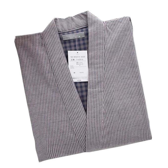 Traje de Pijama de Kimono Texturizado con Textura de Vestido de algodón Estilo japonés para Hombres