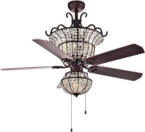 Warehouse of Tiffany CFL-8154BR Charla 4-Light Crystal 52-inch Chandelier Ceiling Fan