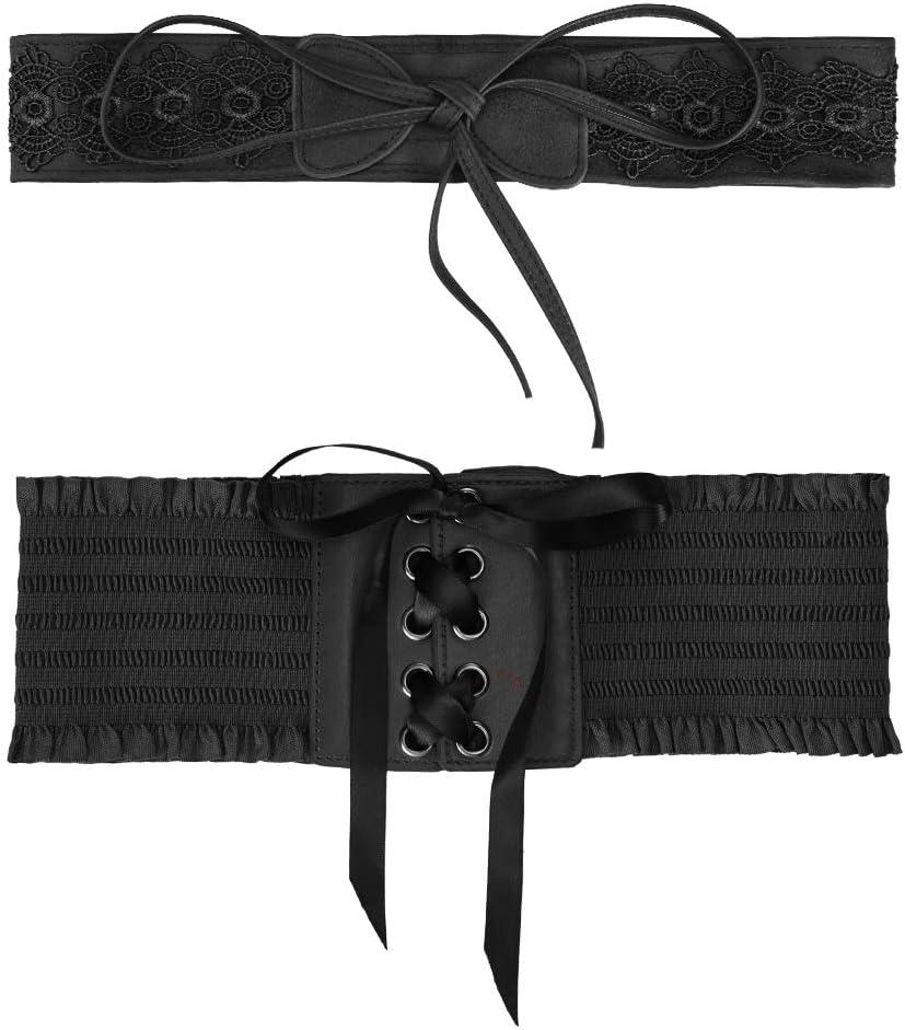 Bruno Elegante Boho Obi Pizzo Cintura con Bowknot Moda Accessori Casual Cinture per Donne Ragazze Vathery 2 Stili Vintage Pelle Vita Cintura Elastica Donna