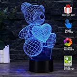 Uferno 3D Optical Illusion USB Night Light Table Lamps - Bedrooms Deco Teddy Bear Love Design for Kids - Unique Color Changing 3Ds Flash and Glow Effect