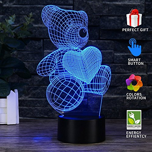 Uferno 3D Optical Illusion USB Night Light Table Lamps - Bedrooms Deco Teddy Bear Love Design for Kids - Unique Color Changing 3Ds Flash and Glow - Hours White Black And Optical
