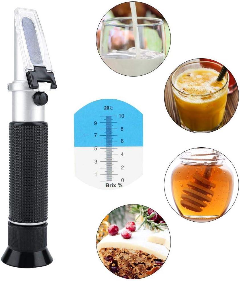 Brix Refractometer Beer Wort and Wine Refractometer Brix Jam Beer Milk Fruit Juice Sugar Tester Meter with ATC Range 0-10/% Brix