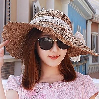 95687ed192a48 Sombrero De Mujer Sra. Cap Sombrero De Sol Plegable De La Sombrilla De La  Playa Del Sombrero De Paja Del Sombrero Rizado Del Casquillo Marrón