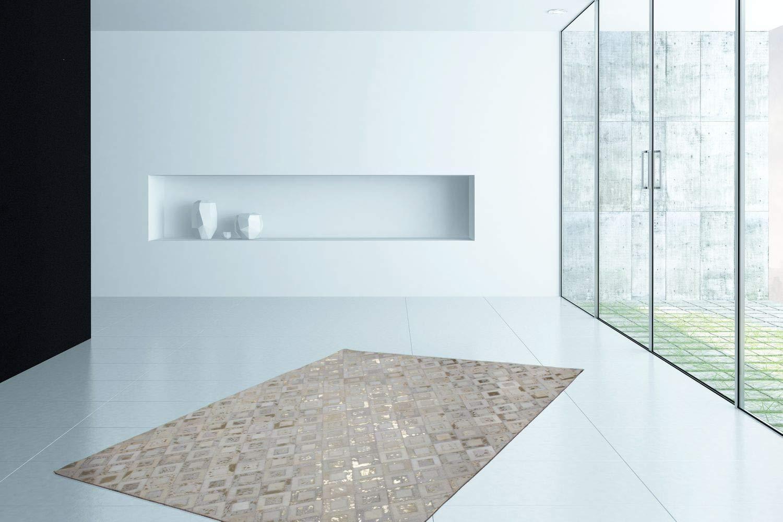One Couture Teppich FLACHFLOR MODERN Leder TEPPICHE HANDGEFERTIGT Elfenbein Gold Angebot, Größe 120cm x 170cm