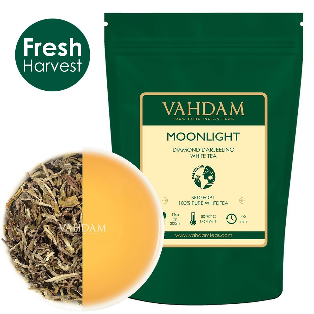 VAHDAM, Diamond Moonlight White Tea Loose Leaf (25 Cups) | HEALTHIEST TEA, 100% NATURAL White Tea Leaves | POWERFUL ANTI-OXIDANTS | Darjeeling Tea Loose Leaf | Brew as Hot Tea or Iced Tea | 1.76oz