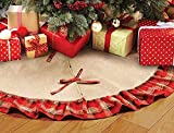 OLYPHAN Burlap Tree Skirt for Christmas Rustic Large Country Natural Brown Skirts & Red Plaid Trim Farmhouse Xmas Holiday Decorations 30 Inch Round Diameter