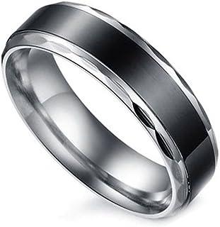 Flongo Partnerringe Damenring Herrenring Ring Edelstahl Band Ring Silber Schwarz Valentine Paar Ringe Verlobung Engagement Verlobungsringe Hochzeit