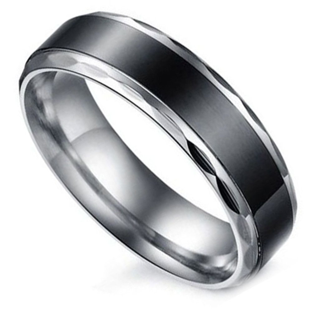Flongo Black Vintage Love His Stainless Steel Wedding Engagement Promise Eternity Bands Ring, Size 7