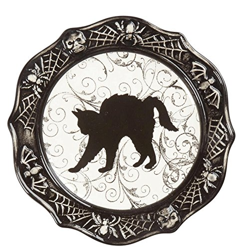 Haunted Halloween Black & White Halloween Icons Ceramic Dessert Appetizer Plate, 8.5-Inch (Cat) ()