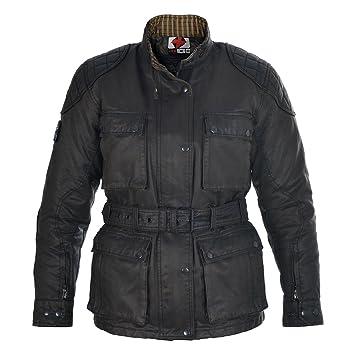 Oxford Heritage chaqueta motocicleta de algodón de cera para mujer negro: Amazon.es: Coche y moto