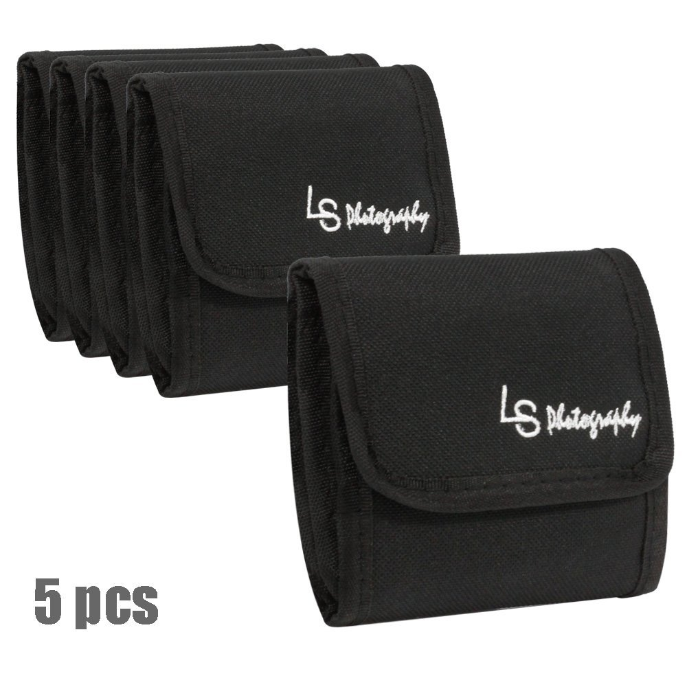 5 pcs x 3 Pocket Camera Lens Filter Case Carry Pouch for Round Circular or Square Filters, LGG39