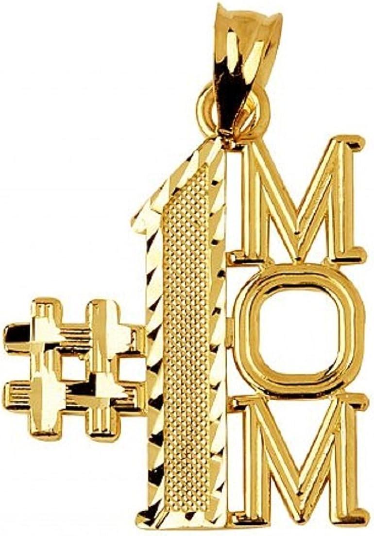 14K White Gold Polished #1 Mom Pendant