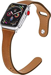 Mtozon Slim Leather Bands Compatible with Apple Watch 38mm/40mm iwatch Straps Series 6/SE/5/4/3/2/1, Replacement Soft Genuine Leather Sport Wristband, Coffee Brown S/M
