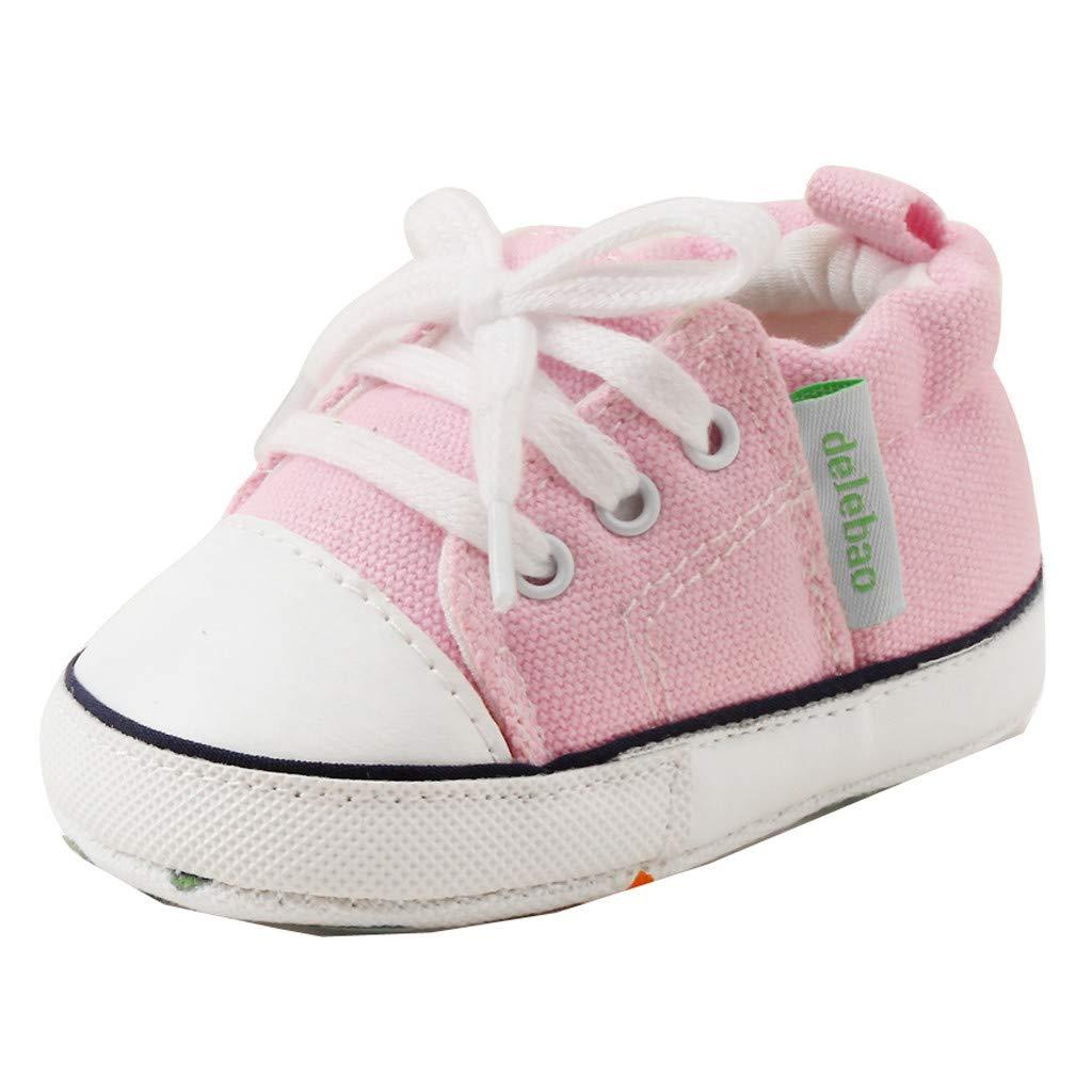 Yalasga Newborn Baby Girls Boys Lace Up Canvas Shoes Anti-Slip First Walkers Prewalker Soft Sole Sneaker (Pink, 6-12 Months)
