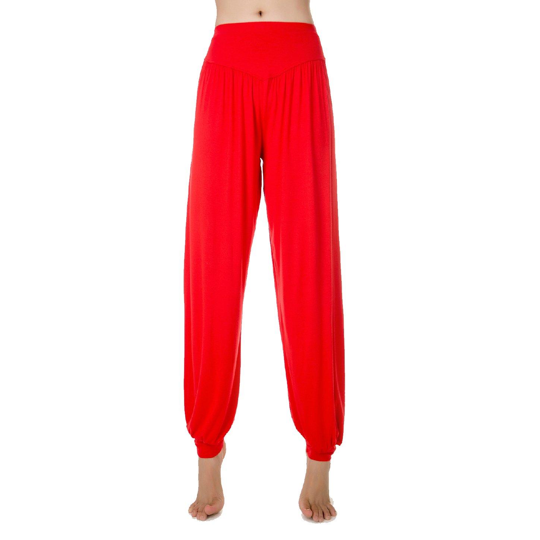 SNUGLIFE Womens' Solid Color Soft Elastic Waistband Fitness Yoga Harem Pants
