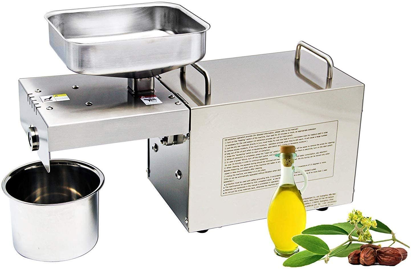 CGOLDENWALL 700W 7-10 kg/h Home Automatic Oil Press Machine Commercial Nuts Seeds Oil Presser Pressing Machine Cold Hot Press All Stainless Steel High Oil Extractor Industrial Motor Heavy Duty