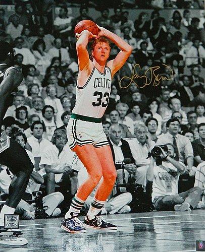 Bird Boston Celtics Jump Shot (Larry Bird Signed Boston Celtics Jump Shot Spotlight 16x20 Photo - Certified Authentic)