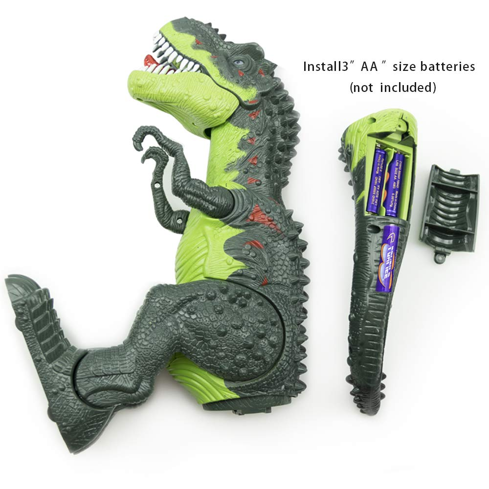 WonderPlay Walking Dinosaur T-Rex Toy Figure with Lights and Sounds Realistic Tyrannosaurus Dinosaur Toys for Kids Battery Operated Green by WonderPlay (Image #3)