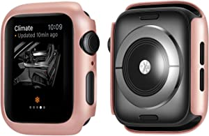Coobes Compatible with Apple Watch Case Series 6/5/4 SE 44mm 40mm, Ultra-Thin Bumper PC Hard Lightweight Shockproof Protector Cover Slim Frame Accessories Compatible iWatch (Rose Gold, 40mm)