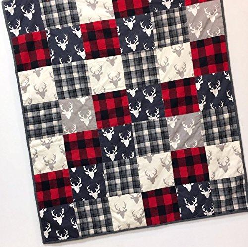 Buffalo Plaid Baby Boy Quilt buck deer heads Patchwork Woodland Red Navy Gray Handmade by Carlene Westberg Designs