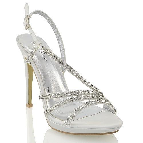 ESSEX GLAM Sandalo Donna Tacco Plateau Finto Diamante Scintillante Matrimonio  Festa (UK 7 / EU