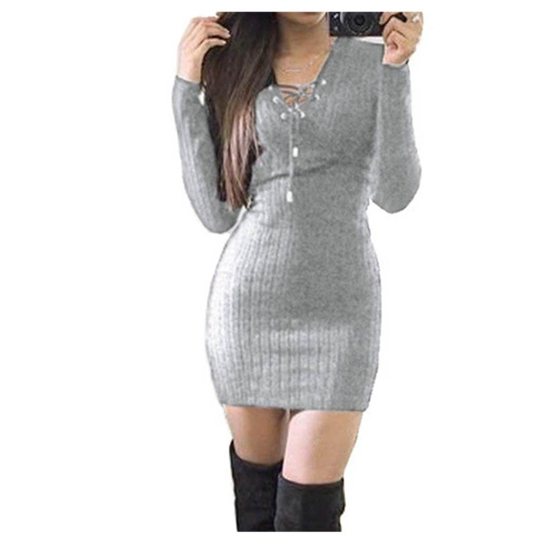 Anxinke Women Solid Long Sleeve Lace up V Neck Casual Bodycon Sweaters Mini Dress