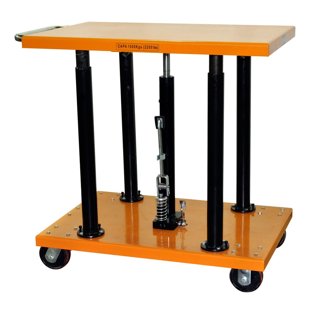 Bolton Tools New Foot Operated Center Post Hydraulic Lift Table with Handle - 2200 LB of Capacity - 54.0'' Max Height - Model PT-20-2436