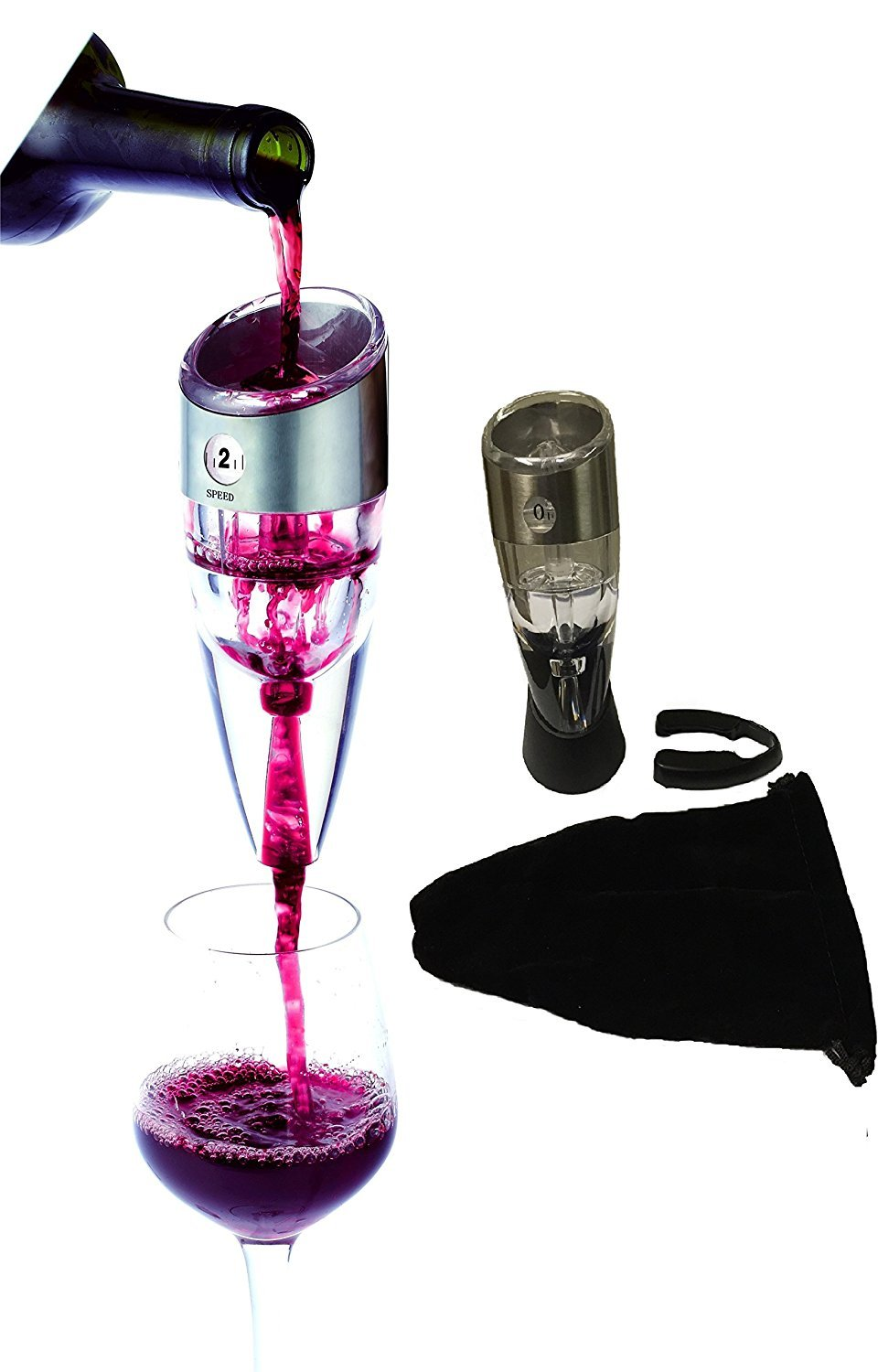 Innovative Spirits Wine Aerator Decanter with Foil Cutter Multi Stage Adjustable Vino Pourer Gift Box and Carrying Pouch