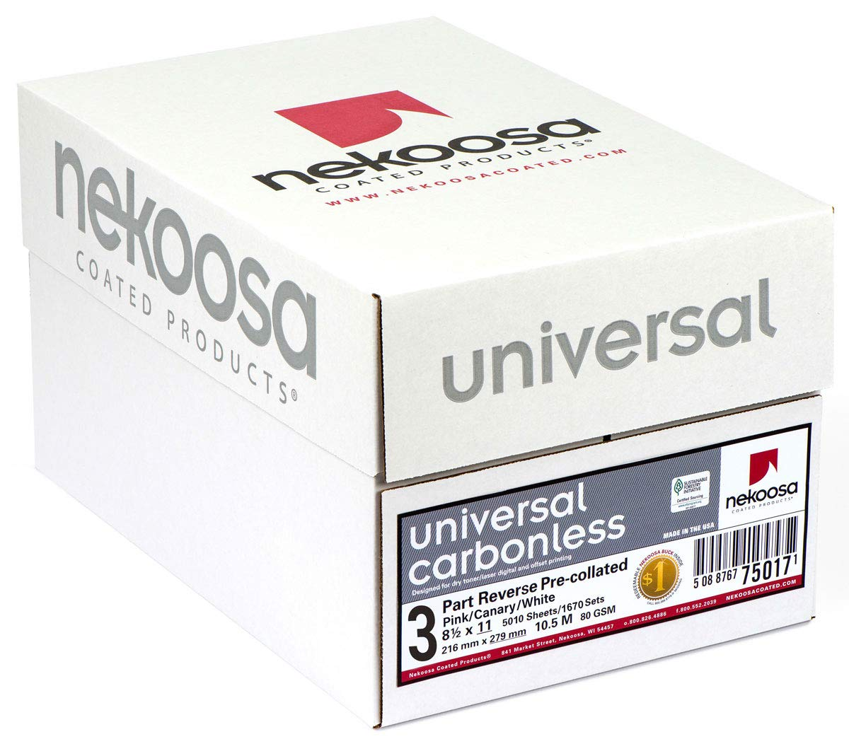 8.5 x 11 Nekoosa Universal Carbonless Paper, 3 Part Reverse (Bright White/Canary/Pink), 1670 Sets, 5010 Sheets, 10 Reams by PSD