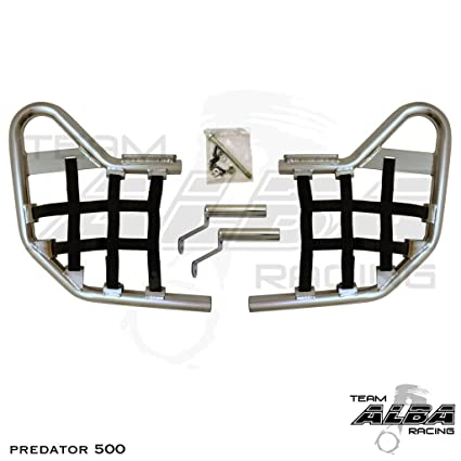 2003-2007 Green Standard Nerf Bars Silver Polaris Predator 500