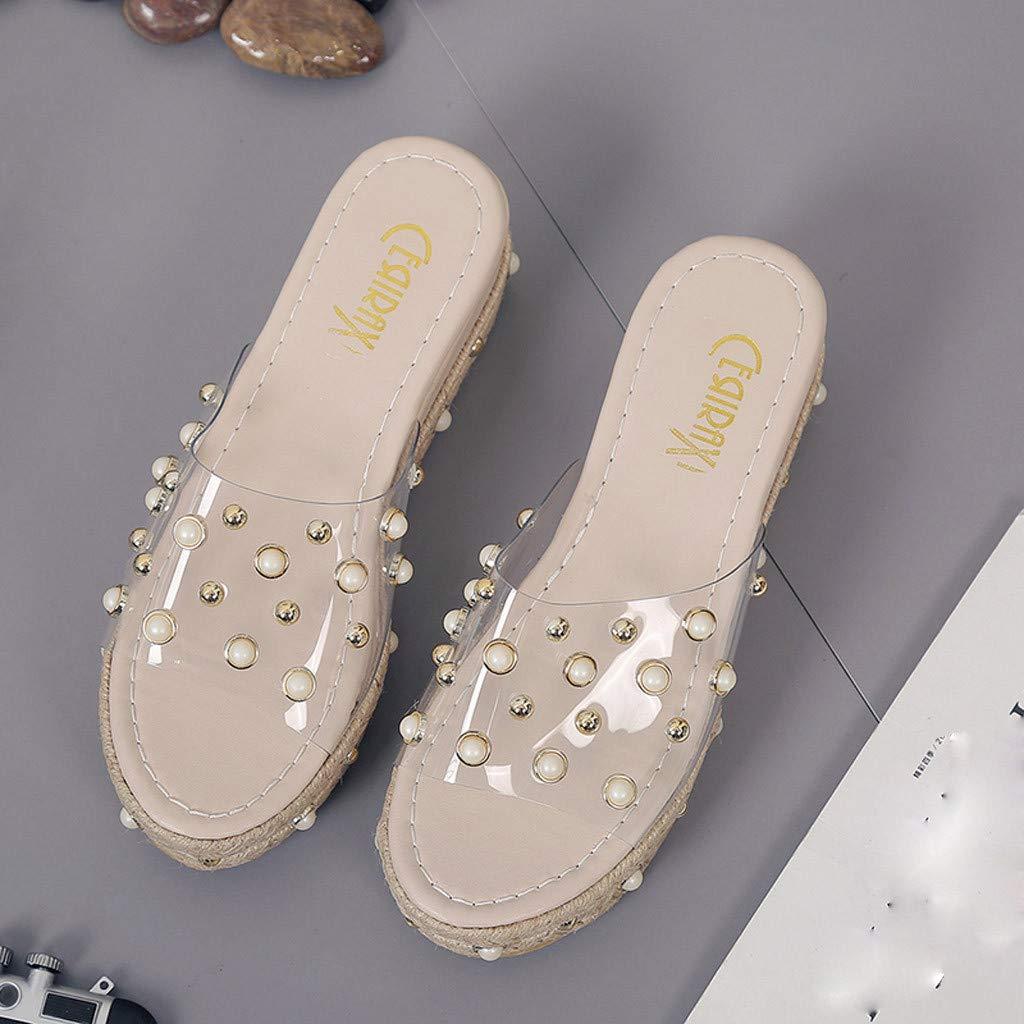 DATEWORK Fashion Ladies Platform Wedge Platform Waterproof Platform Pearl Sandals