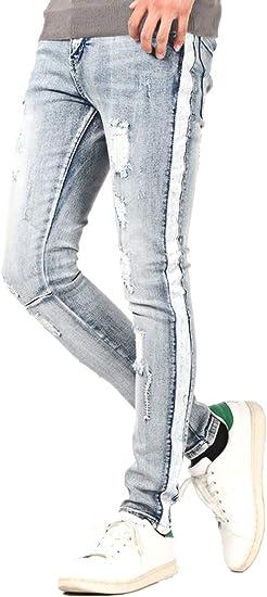 LUX STYLE(ラグスタイル) デニムパンツ メンズ スキニー サイドライン ダメージ 細身