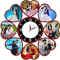 Shri Kanth Art Heart Shape with Clock Photo Frames Perfect for Office and Home Decorations (Size:- 12 x 12 Inch)