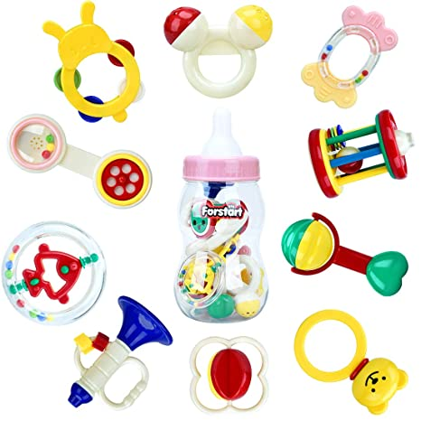 Amazon.com  10pcs Baby Rattles Teether 8e00f258b