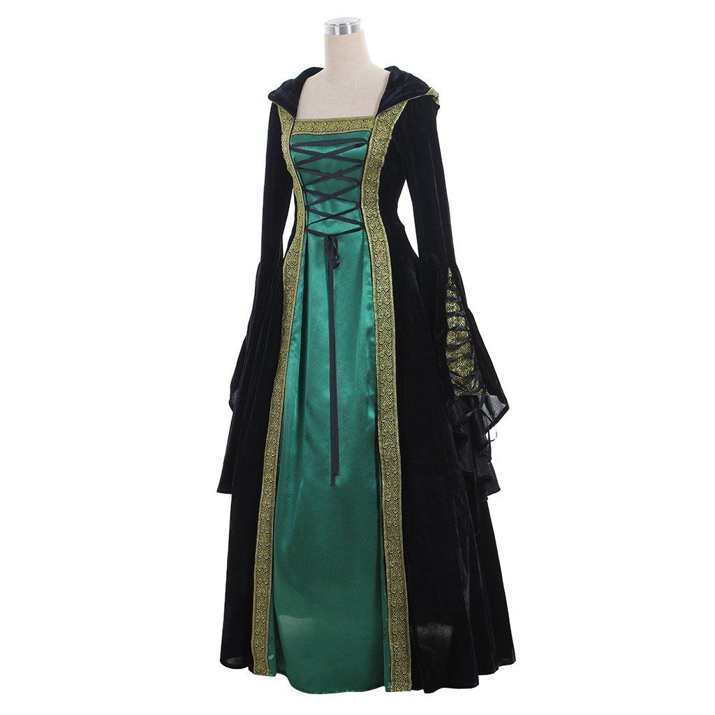 CosplayDiy Women's Medieval Renaissance Retro Gown Cosplay Costume Dress CM Green by CosplayDiy (Image #2)