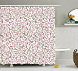 Pink and Tan Shower Curtain Ambesonne House Decor Collection, Autumn Countryside Wildflowers Herbs Botany Chamomile Artistic Design, Polyester Fabric Bathroom Shower Curtain Set with Hooks, Pink Tan White