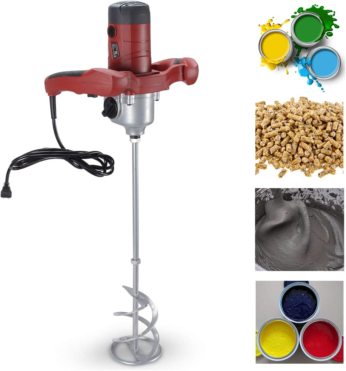 ARKSEN Electric Cement Grout Mortar Mixer Grip 110v Adjustable Speed Variable 6 Speed, 1600W