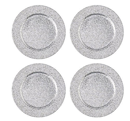 Mud Pie Yuletide Collection Silver Glitter Charger Plates, Set of 4