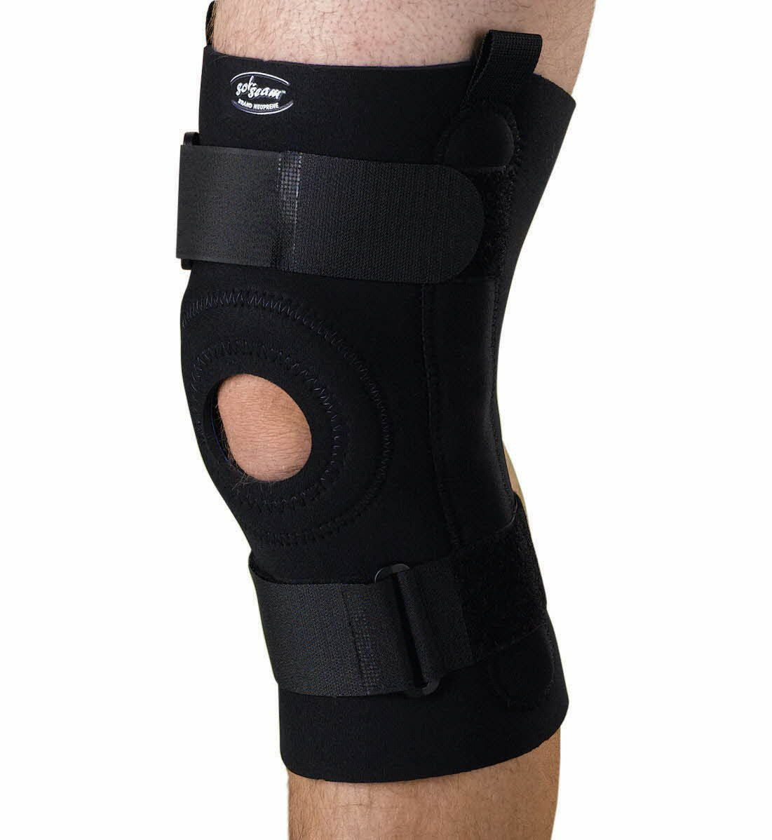 Curad U-Shaped Hinged Knee Support, Black, Large (Pack of 4)
