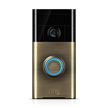 Ring Wi-Fi Enabled Video Doorbell in Antique Brass, Works with Alexa